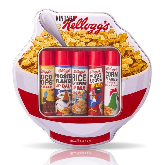 Best Price! Kellogg's Retro 70's Cereal Bowl Shaped Tin and 5 Lip Balms