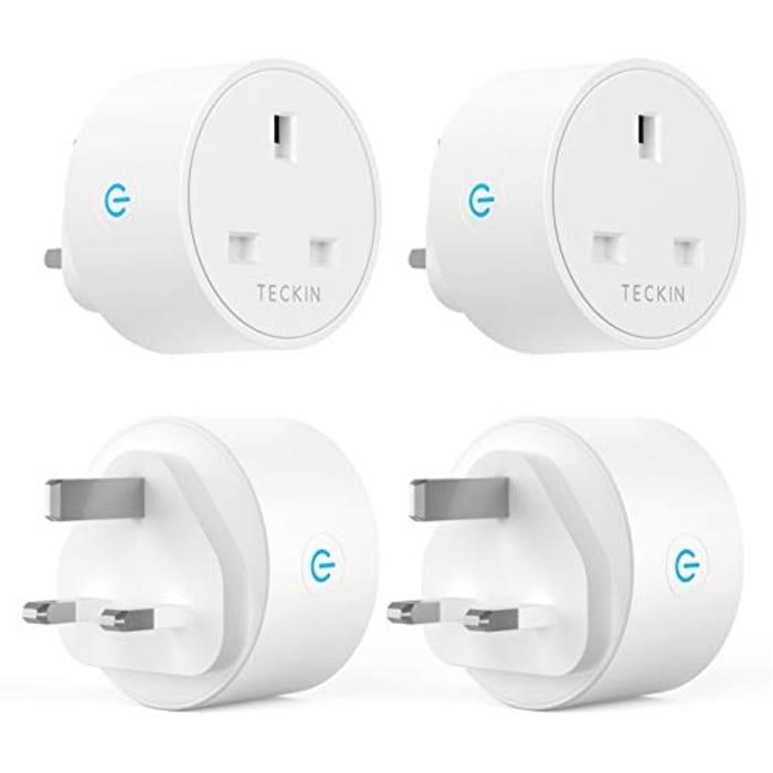 Smart Plug WiFi Outlet TECKIN Mini Plug No Hub Required (4 Pack)