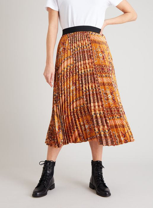 Women's Gold Patchwork Print Pleated Midi Skirt - HALF PRICE