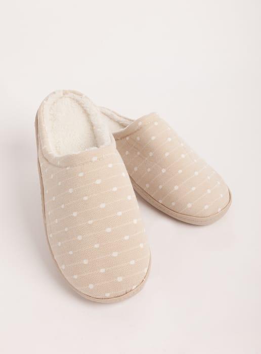 Women's Beige Cupsole Dot Print Mule Slippers - HALF PRICE