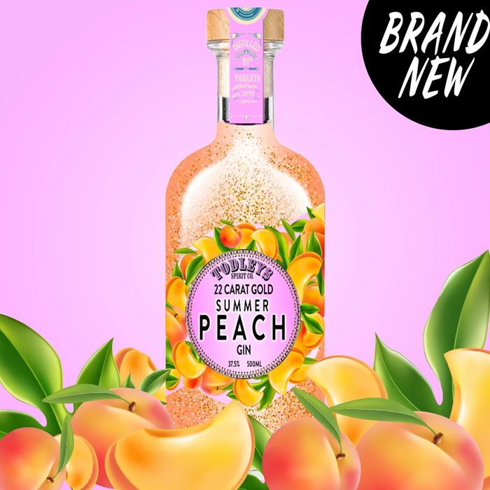 Todleys Summer Peach Gin with 22 Carat Gold 50cl