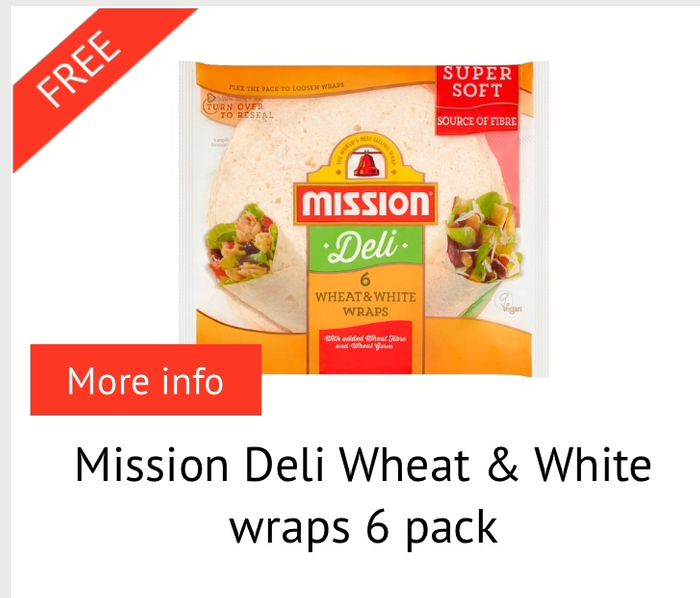 Free Mission Deli Wraps at Tesco and Sainsburys after Cashback.