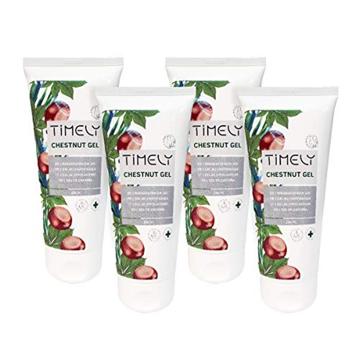 Timely Chestnut Gel for Tired and Heavy Legs with Menthol (Pack of 4 X 200 Ml)