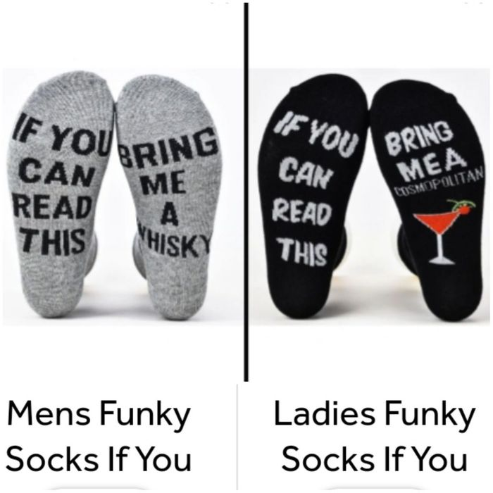 """Ladies & Mens """"If You Can Read This Bring Me a...."""" - Funky Socks."""