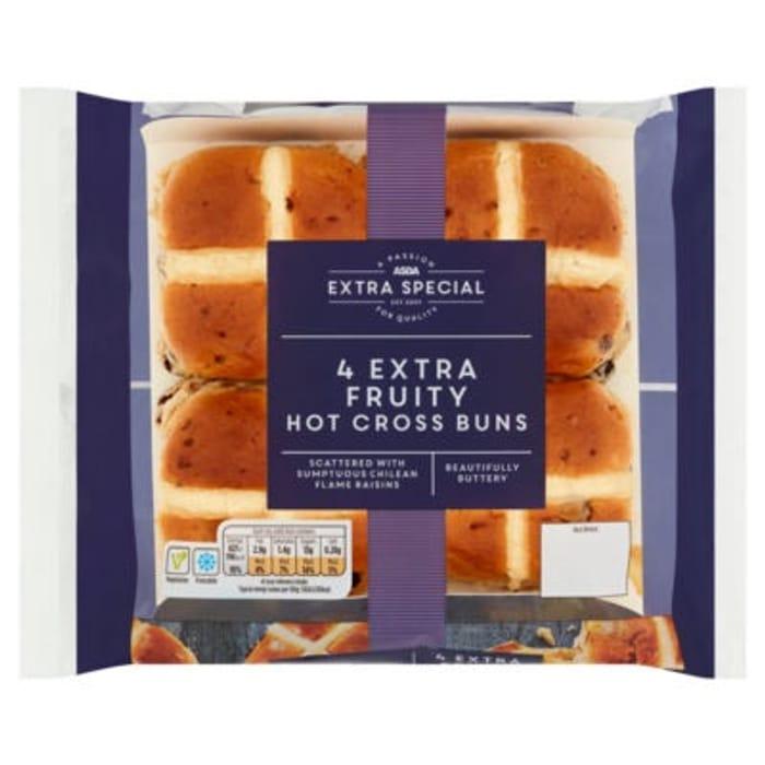 ASDA Extra Special 4 Extra Fruity Hot Cross Buns