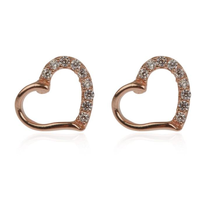 Rose Gold Open Heart Diamante Stud Earrings