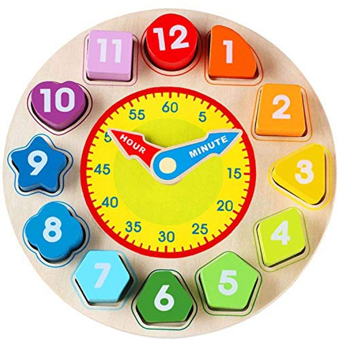 Wooden Shape Sorting Clock Toy with Number and Shape