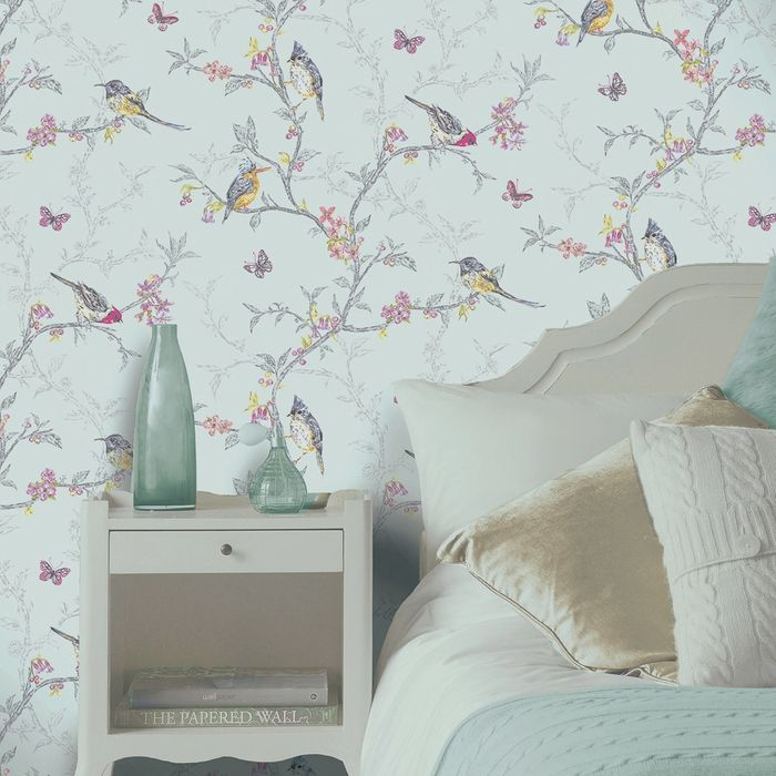 K2 Feature Wallcovering: Bird Trail Blue