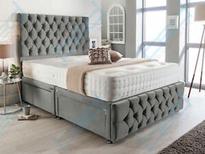 BARGAIN BED! Velvet Double Bed with Headboard & Mattress £246.99 Del