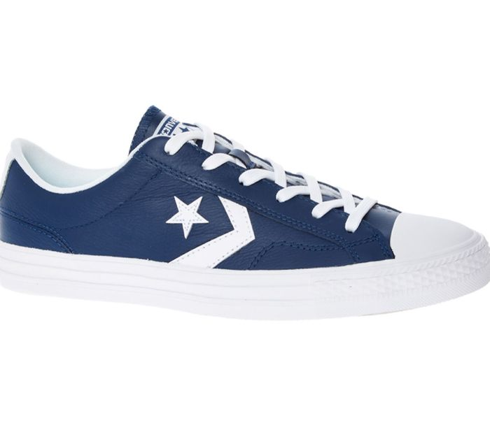 CONVERSE Navy Leather Star Player Ox Trainers