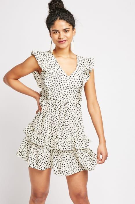 Printed Ruffle Trim Tea Dress
