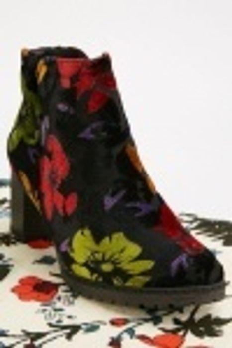 Velveteen Floral Ankle Boots