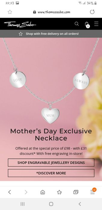 £10.00 Thomas Sabo Voucher with Newsletter Sign Ups. Min Spend £75