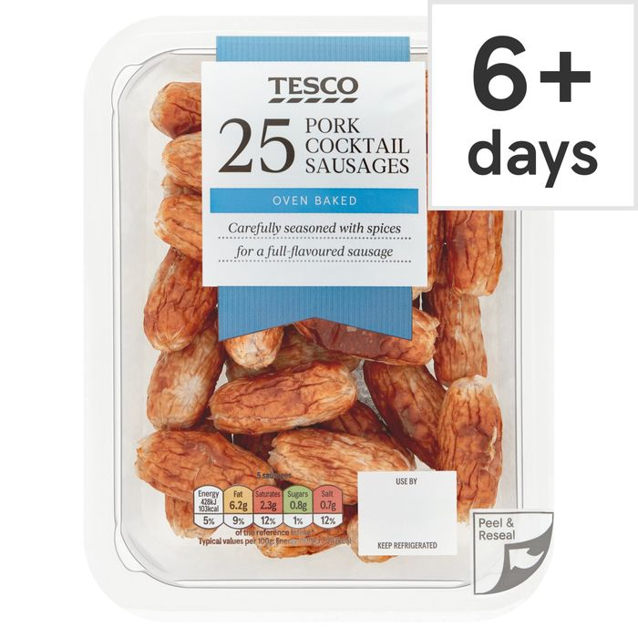 Tesco 25 Cocktail Sausages 212G save 45p Now £1