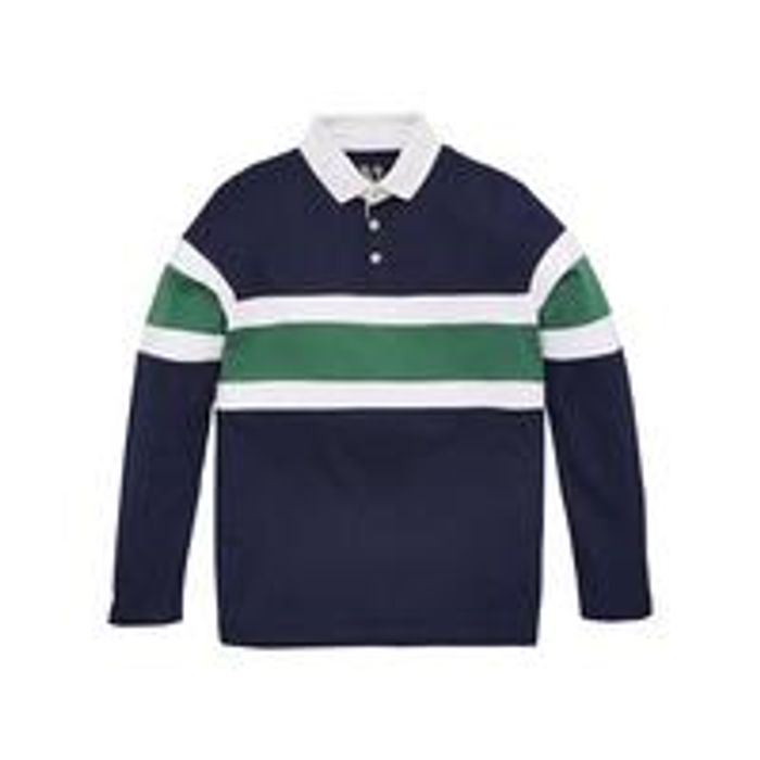 Cheap Boys Long Sleeve Cut & Sew Rugby Polo - Khaki - Only £5