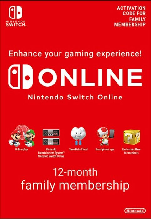 CHEAP! Nintendo Switch Online 12 Month (365 Day)Family Membership Download