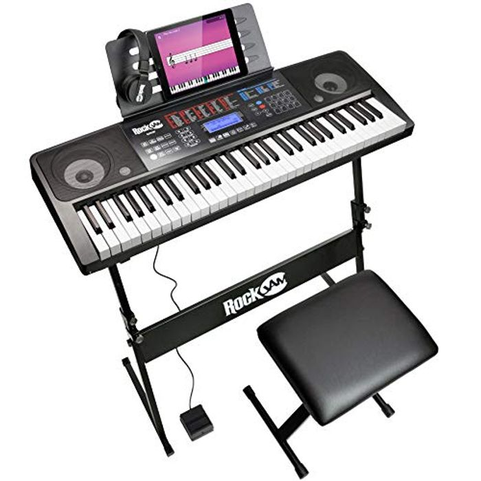 RockJam RJ761 61 Keyboard Piano Kit, 61 Key Digital Piano, Keyboard Bench.