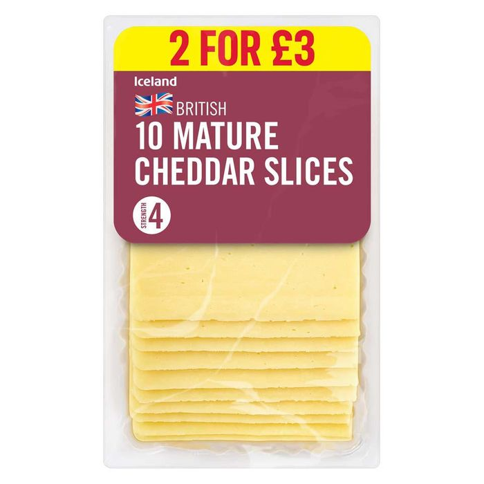 Iceland 10 Mature Cheddar Slices 250g (2 for £3)