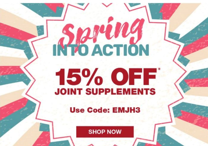 Keep Active This Spring With 15% Off* Our Full Price Joint Supplements!