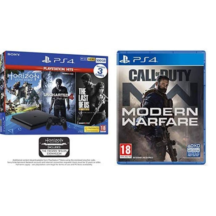 PS4 500GB with 3 PS Hits Game Bundle (PS4) Call of Duty: Modern Warfare (PS4)