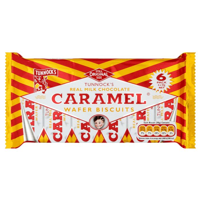 Tunnock's Real Milk Chocolate Caramel Wafer Biscuits 6 X 30g
