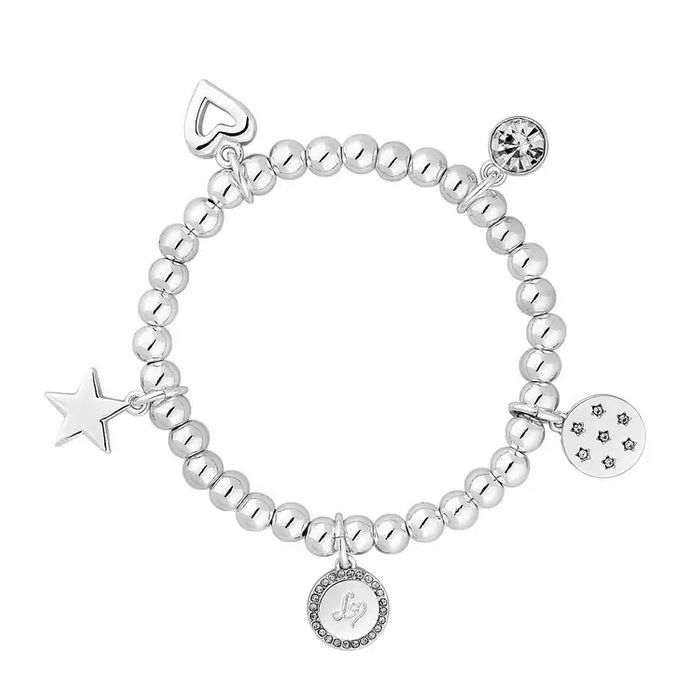 Lipsy - Silver Plated Stretch Ball Charm Bracelet - Gift Boxed