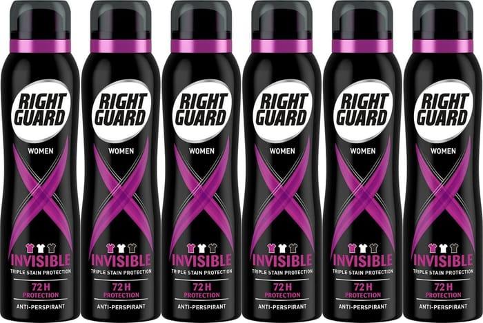 Right Guard Womens Deodorant, Xtreme Invisible 6 X 150ml