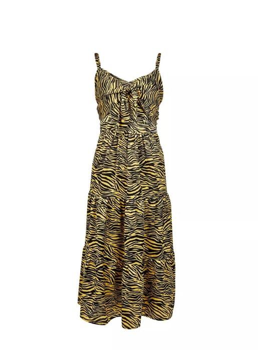 Yellow Zebra Print Tiered Midi Skater Dress