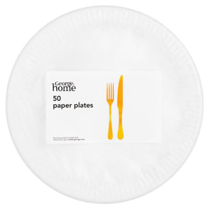 George Home White Paper Plates 50pk