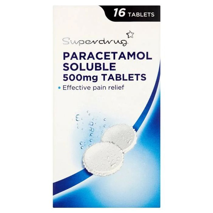 Superdrug Paracetamol Soluble Fast Acting Pain Relief in STOCK