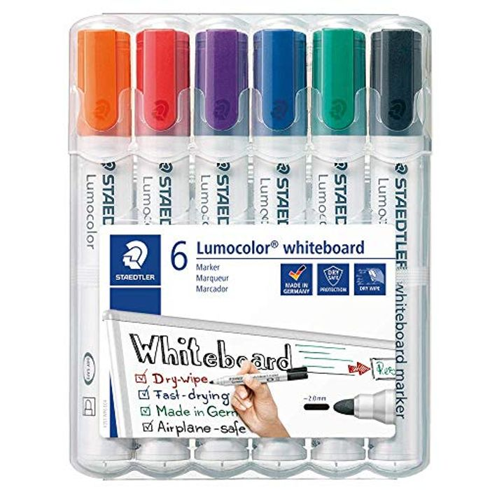 STAEDTLER Lumocolour Whiteboard Marker with Bullet Tip, Multicolor Only £4.54