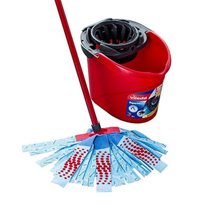 Vileda SuperMocio 3Action XL Mop and Bucket Set, Red/Blue Only £12.75