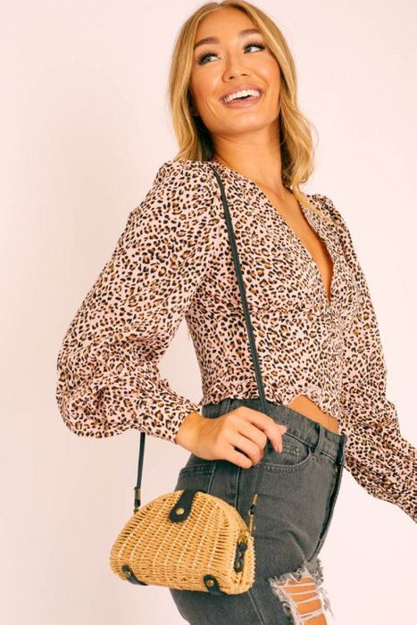 Natural Woven Faux Leather Detail Semi Circle Bag, Only £4.19!