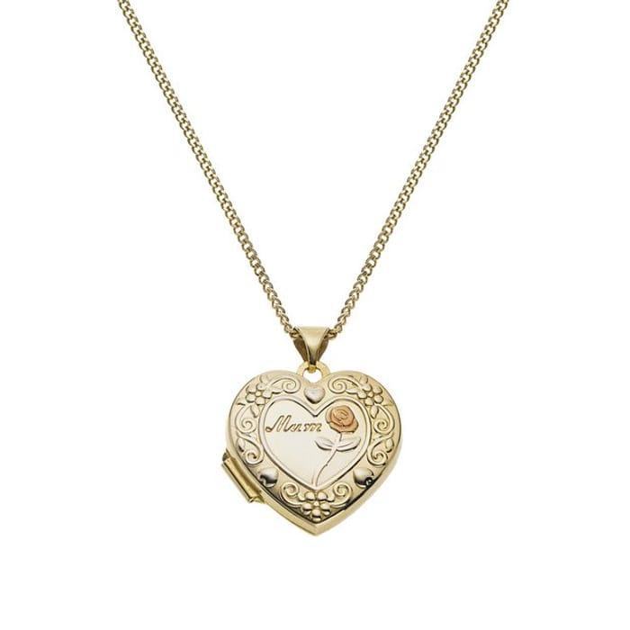 Moon & Back Silver Heart Mum 4 Photo Locket 18 Inch Necklace
