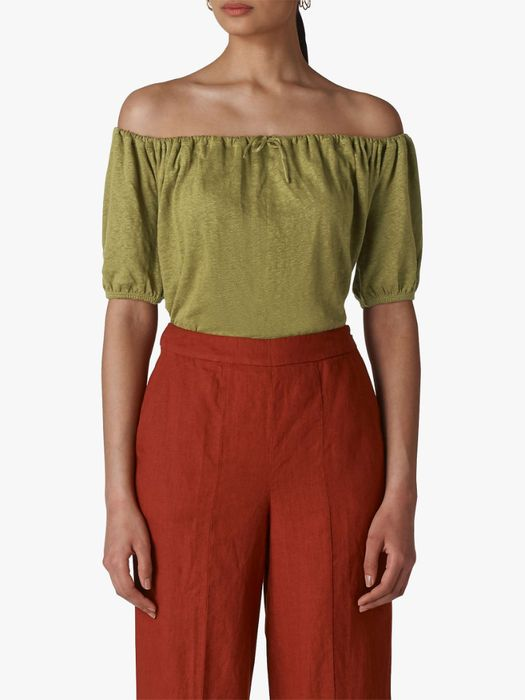 Whistles Drawstring Linen Bardot Top