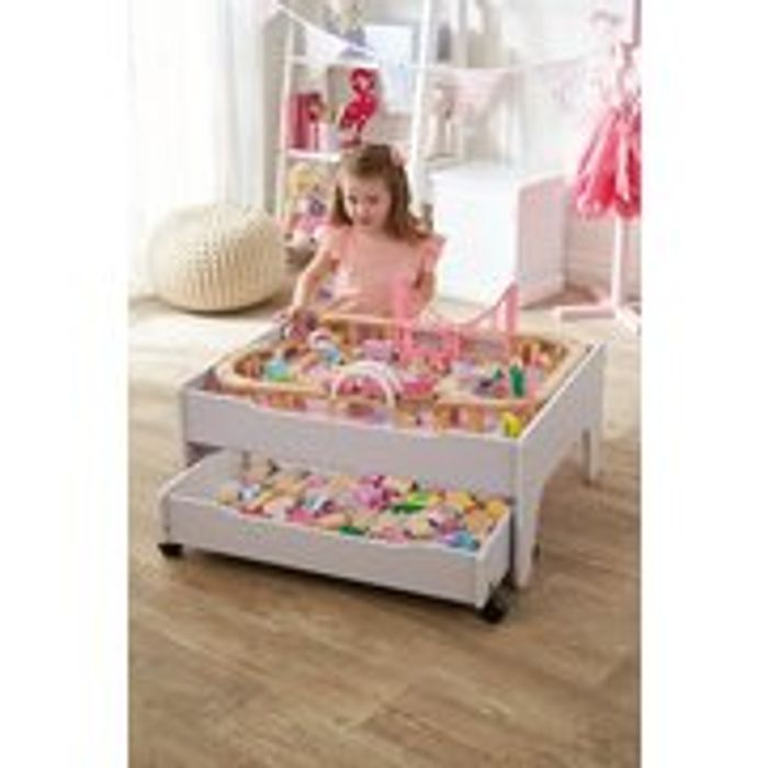 Pink Reversible City and Train Table Set