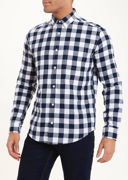 Men's Navy/White Buffalo Check Shirt - save £5
