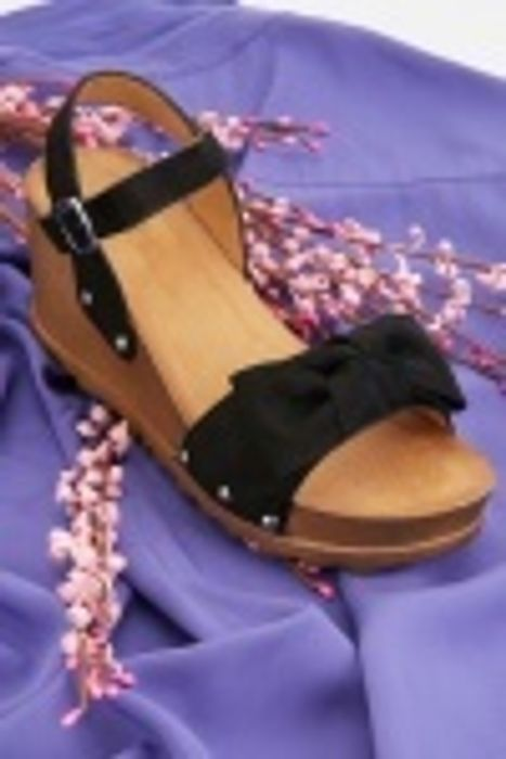 Knotted Velveteen Wedge Sandals