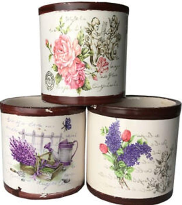 Set of 6 Mini (7cm) Decorative Plant Pots at EBAY