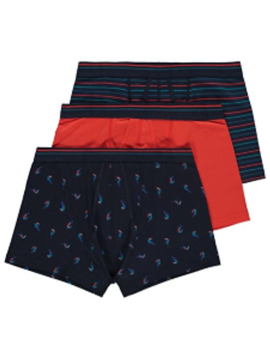 Navy Toucan Print A-Front Trunks 3 Pack (2 for £12 & 3 for £18)