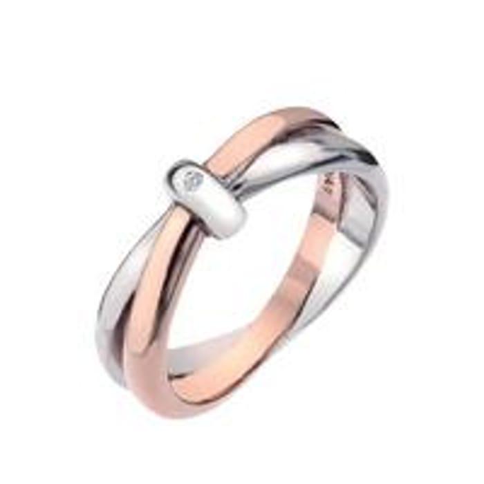 CHEAP! Eternity Sterling Silver and Gold Vermeil Diamond Set Interlocking Ring