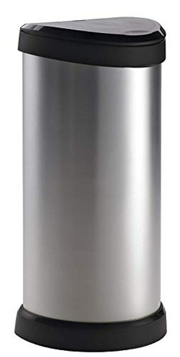 Curver Metal Effect Plastic One Touch Deco Bin, Silver, 40 Litre