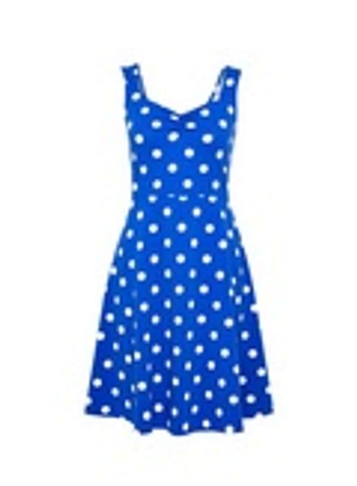 Blue Spot Print Ruched Jersey Dress