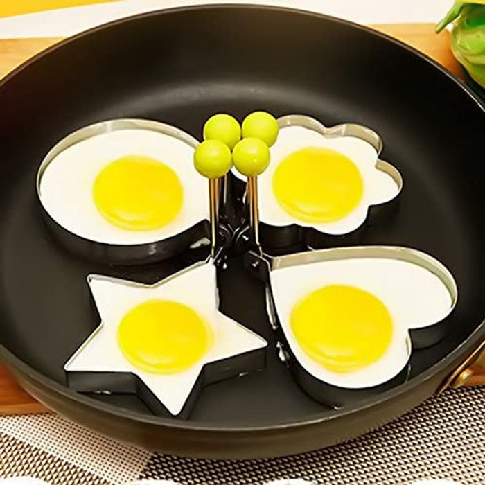 Fried Egg Mould: Star/Circle/Blossom/Heart Design, 76p Each-All 4 £2.48, Amazon