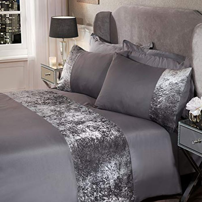 Crushed Velvet Panel Band Duvet Cover with Pillow Case