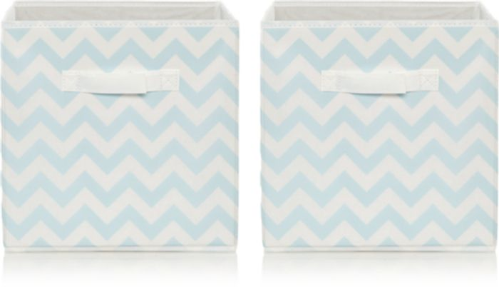 Blue Chevron Striped Storage Boxes - Set of 2