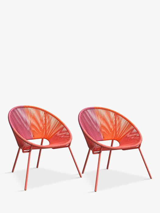 House by John Lewis Salsa Garden Chair, Set of 2, Orange Ombre (Save 20%)