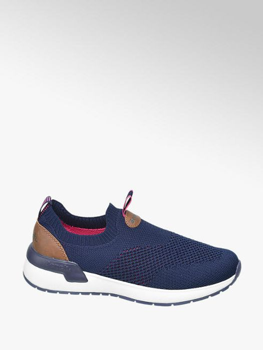 Navy Blue Knitted Slip on Bench Trainers