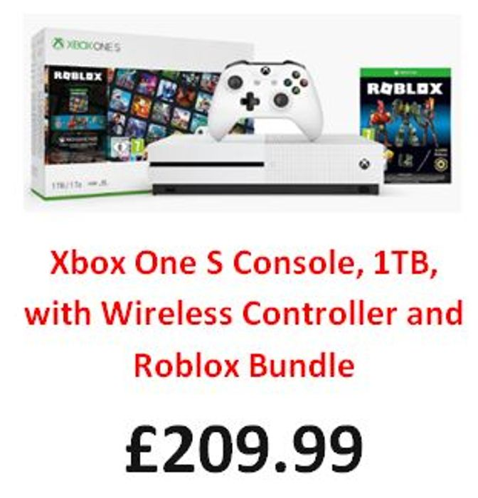 Xbox One S Console, 1TB, with Wireless Controller and Roblox Bundle