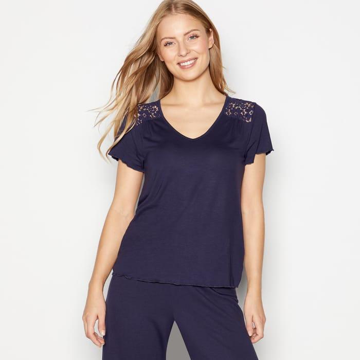 Debenhams - Navy 'Garden' Short Sleeve Pyjama Top
